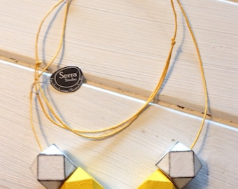 Yellow Peril Geometric Necklace a touch of geometry in these wooden beads