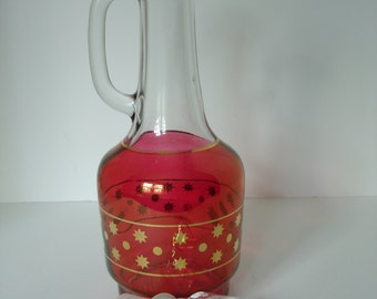 Mid Century Vintage Ruby Glass Decanter Trimmed in Pure Gold with Stopper