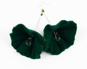 Jade Earrings Felted Earrings Fairy Tale Earrings Nunofelt earrings felt nuno flower nunofelt silk folk boho wool fairy
