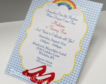 Wizard of Oz Invitation-Wizard of Oz Invite-Over the Rainbow-Wizard of Oz-Dorothy Ruby Red Slipper Wizard Oz Invite-Over the Rainbow Invite