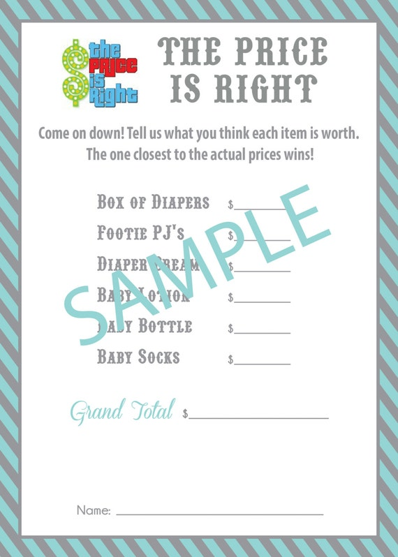 Items similar to PRICE IS RIGHT baby shower game on Etsy