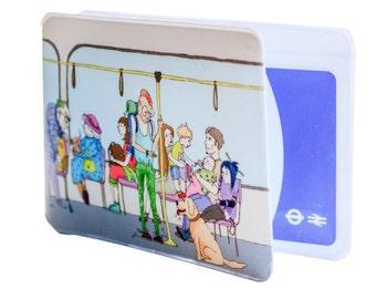 Oyster Card Holder - Passengers on the tube. Travel Card Holder. Card Wallet. Oyster card. Ticket holder. London travel
