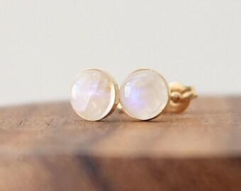 Moonstone Stud Earrings • Gold post earrings set with rainbow moonstone gemstones • Gift for her