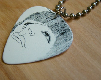 The Beatles Revolver Album Cover Guitar Pick Necklace with Stainless Steel Ball Chain