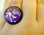 Purple Asteroid Glass Glitter Dome Ring Space Jewelry Galaxy Jewelry