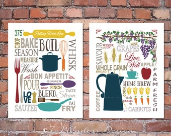 Modern Kitchen Art Prints   Culinary Love Fine Art   (2) 8x10, 11x14