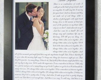 ANY Song Lyrics Quotes Wedding Vows Words, Personalized Wedding Gift Anniversary Gift For Wife Husband Couples Custom Photo Mat Art