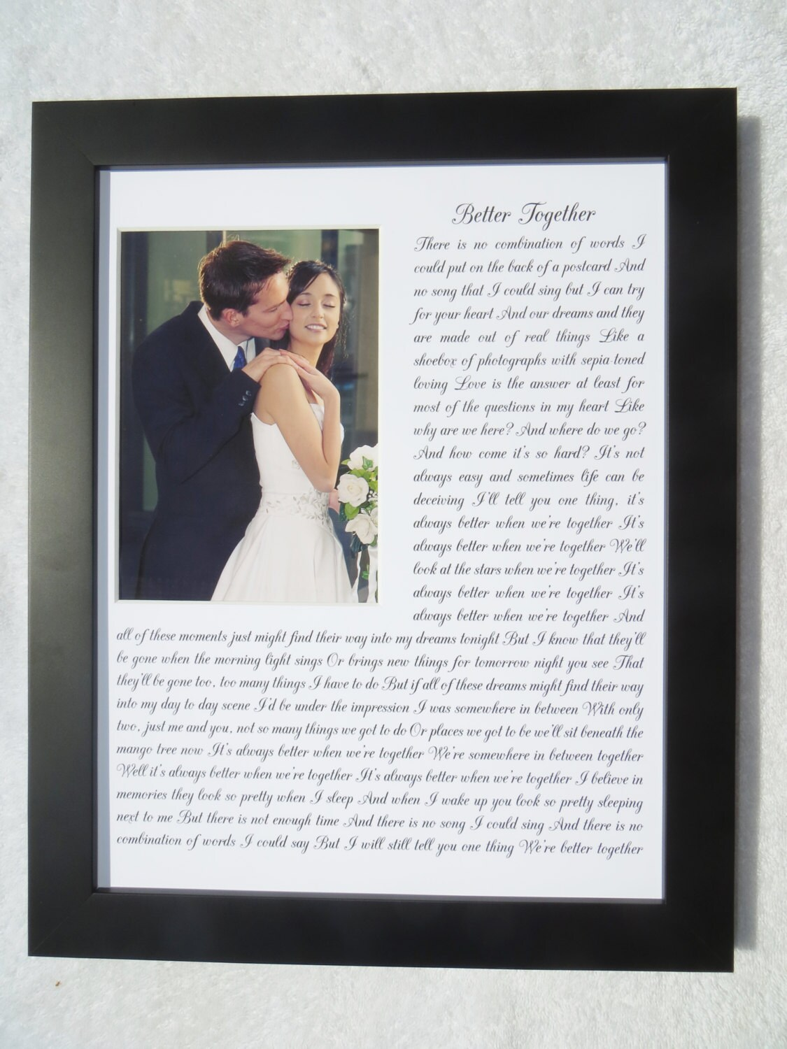 ANY Song Lyrics Quotes Wedding Vows Words Personalized