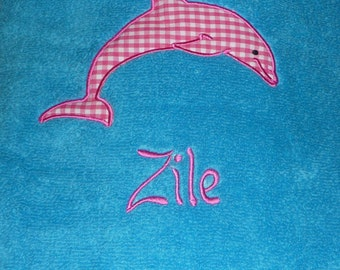 Appliqued and personalized beach towel