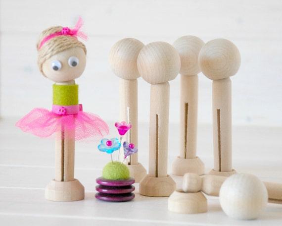 DIY Clothespin Doll 10 Wooden Dolls Wooden by CraftyWoolFelt