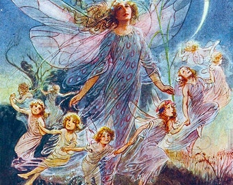 Enchanting Fairy RING! Glorious  Vintage Fairy Illustration. Fairy DIGITAL Download. Vintage Fairy Digital PRINT