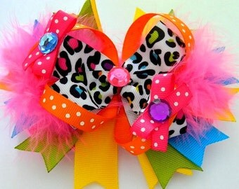 MULTICOLOR with MARAB0U Hair Bow. Loopy Puff Hair Bow. Bows for Girls.