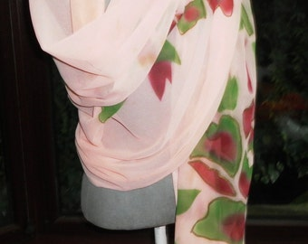 Artist Handpainted lovely large lightweight sequined chiffon beach wrap shawl or scarf great for holidays