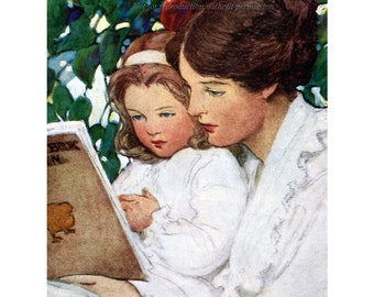 Mother and Daughter Read Together Fabric Block - Repro Jessie Willcox Smith