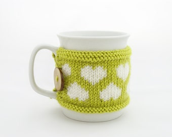 Cup Cozy in Apple Green with Hearts, Knitted Mug Cozy, Coffee Cozy, Handmade Wooden Button, Coffee Cozy Sleeve, Warmer, Spring, Summer, Gift