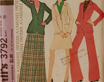 Jacket, Skirt & Bell Bottom Pants - 1970's - McCall's Pattern 3792  Uncut  Size 16   Bust 38""