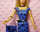 11.5 Doll Dress - Blue Polka Dot Sheath Dress, Purse, Necklace, Belt and High Heel Shoes. CHOOSE: Dress only or Dress with accessories.