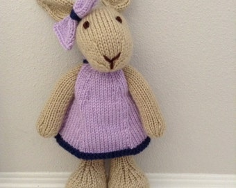 Stuffed Animal - Handmade Bunny - Stuffed Toy in Dress - Stuffed Toy - Soft Toy - Knitted Bunny - Knitted Rabbit