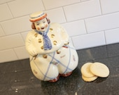"Happy Go Lucky... Vintage Shawnee ""Happy"" Jack Dutch Boy Cookie Jar, Decals and Gold Trim"