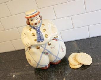 """Happy Go Lucky... Vintage Shawnee """"Happy"""" Jack Dutch Boy Cookie Jar, Decals and Gold Trim"""
