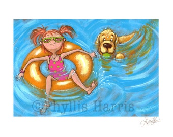 Wall Art - Summer Fun - Little girl and golden retriever in the pool