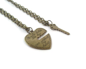 Key to My Heart Necklace Set, His and Her Necklaces, Brass Romantic Jewelry, Heart and Key