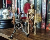 BLACK Plastic Moveable Skeleton for Altered Art Projects Day of the Dead Halloween