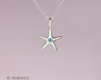 Topaz Starfish Necklace in Sterling Silver