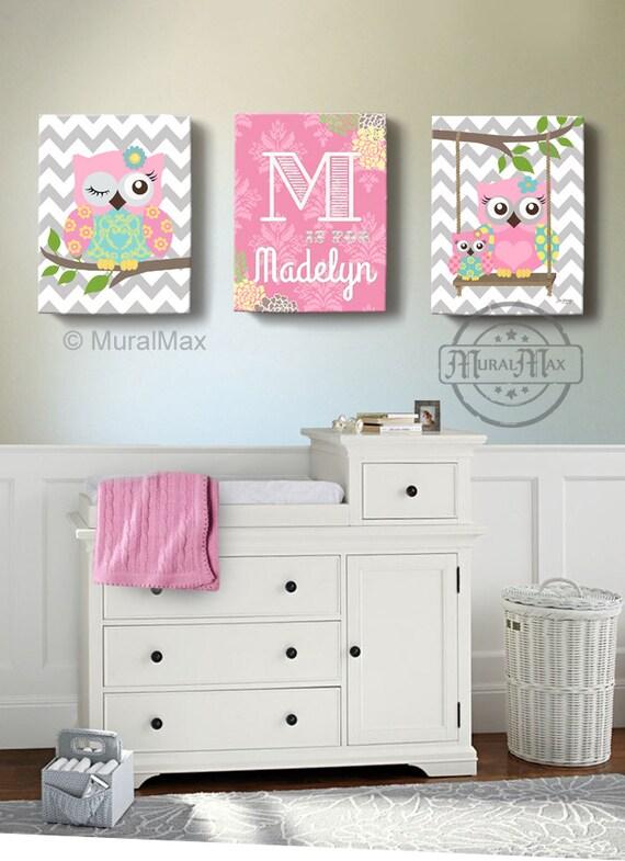 girls wall art owl canvas art baby nursery owl canvas set. Black Bedroom Furniture Sets. Home Design Ideas