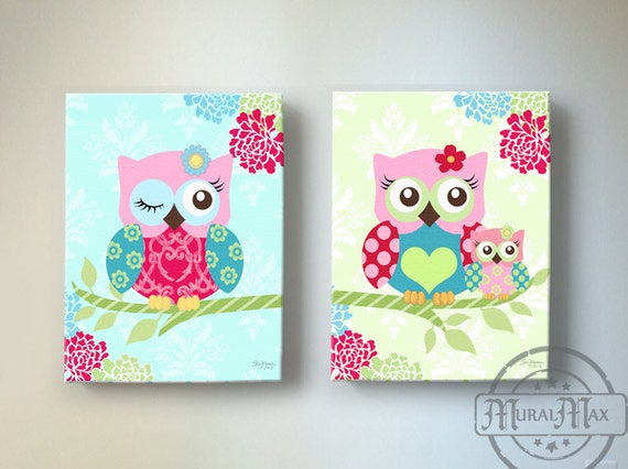 Owl nursery decor owl canvas art baby girl nursery owl for Baby girl nursery paintings