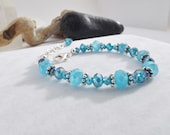 Ocean Blue Crystal and Glass Beaded Adjustable Bracelet for Spring, Summer, Fall, Holiday, Cruise, Mother's Day, Gifts for Her