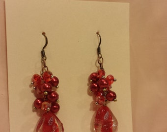 Red Cluster Dangle Earrings with Lampwork Beads