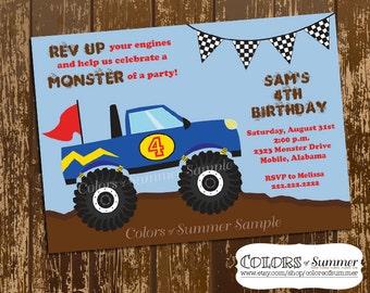 Monster Truck Invitation, Monster Truck Invite, Monster Truck Birthday Invitation, Birthday Invite, Boys Birthday, Race, Custom Digital File