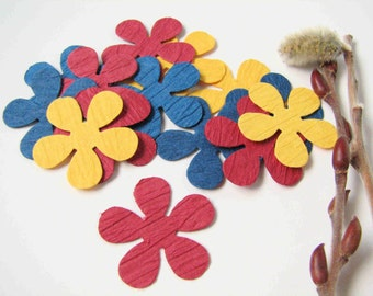 multicolored die cut flowers, set of 15, primary colors, scrapbooking supplies