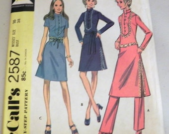 "1970s Boho Tunic Dress in 3 Versions and Pants Hostess sewing pattern McCalls 2587   Size 16 Bust 38"" UNCUT"