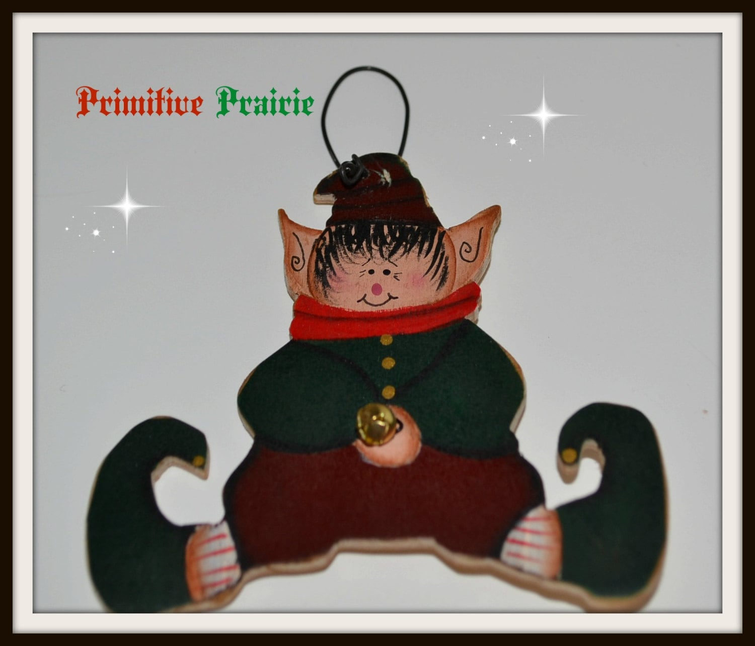 Primitive Elf ornament orni gift tag christmas decoration made in usa handmade Free shipping
