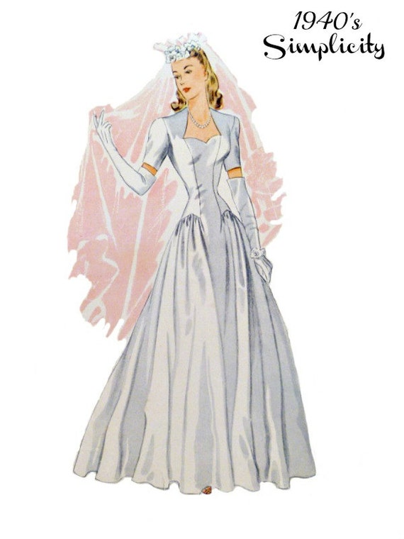 Vintage 1940s bridal wedding dress sewing pattern size 18 bust for 1940s wedding dress patterns