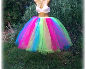 adult tulle tutu skirt tea length tutu skirt neon tutu apple green fuchsia and turquoise tulle tutu sweet 16 party neon skirt plus size