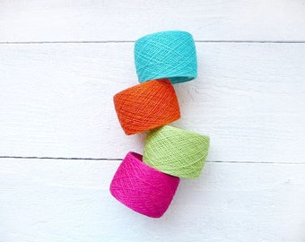 Bright mix of linen yarns for Spring knitting projects - neon hot pink turquoise orange green