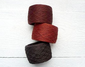 300gram Linen flax brown, dark brown and pinky brown - fall harvest color mix