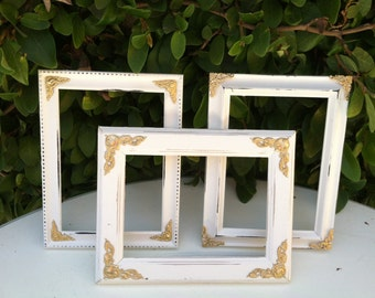 Set of 3 Ornate Picture Frames, 5x7, 4x6  Baroque, White & Gold,  Shabby Chic, Distressed Frame,Wedding, Nursery (Los Angeles)