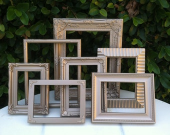 Champagne Gold Picture Frames, Set of 7, Custom set, Ornate  Picture Frames,  Baroque, Wedding, Nursery, Wall Gallery decor  (Los Angeles)