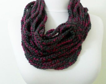 Crochet Chain Scarf Scarf Necklace Knit Circle Scarf Eternity Scarf Gift Cowl Wool Scarf Handmade Winter Fashion