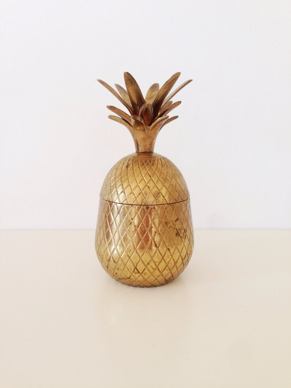 Vintage Brass Pineapple Ice Bucket 7.5""