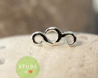 NOSE STUD /French Swirl/ Sterling Silver/ Piercing/ Tragus Ear/ Cartilage Earrings/ Nose ring/ Hoop nose/ Helix Earrings