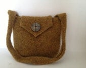Rich Gold Knitted & Felted Purse with Strap