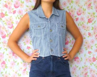 Vintage 80's Vertical Striped Denim Vest