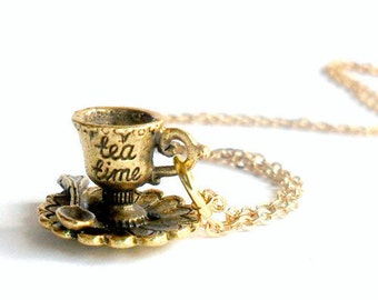 Tea Time Alice in Wonderland Necklace, Rose Gold Plated, Cute And Dainty :)