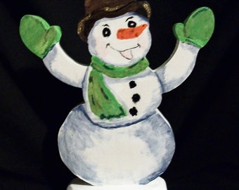 Handmade scroll sawed free-standing snowman decoration
