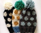 KNITTING PATTERN Polka Dot Chunky Knit Slouchy Beanie Toque Fall Winter Hat Accessory